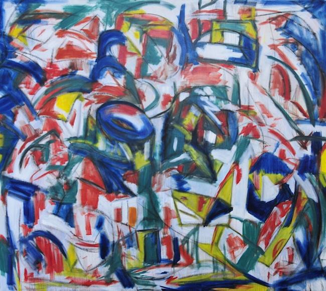 Title: Unlocked, Doors Banging Medium: Oil, charcoal, ink, acrylic on canvas Size: 48x54