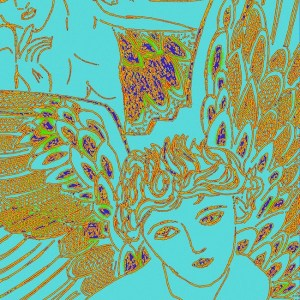 "Title: Blue Angel Medium: pen and ink + digital Size: 8"" X 10"""