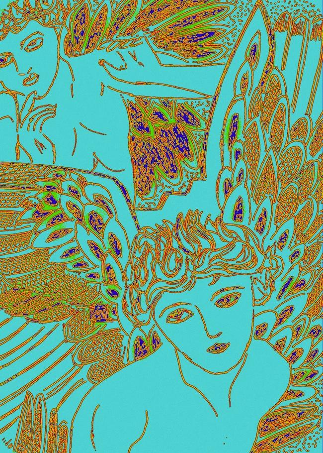 "Title: Blue Angel Medium: pen and ink + digital Size: 8"" X 10"""