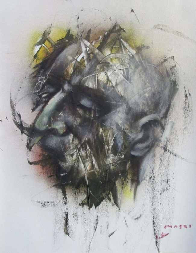 Masri Hayssam - Florence, Italy Title: New expression series-p6 Medium: Mixed media on canvas Size: 50x40cm