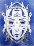 "Brian Moody – Williston, FL TitleTribal face 2   MediumPaper cutting, spray paint, pen & ink, acrylic   Size9""x12"""