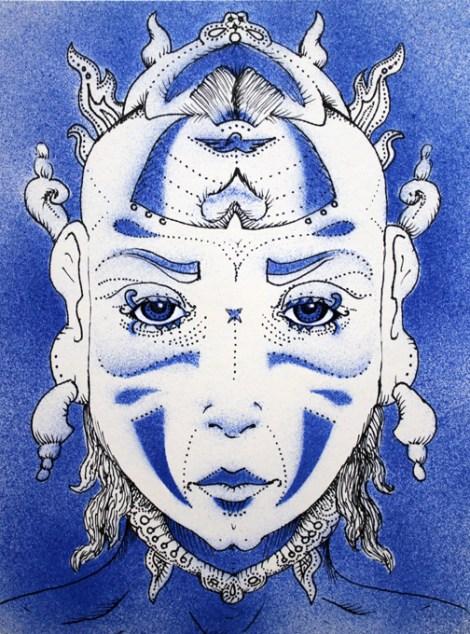 "TitleTribal face 2   MediumPaper cutting, spray paint, pen & ink, acrylic   Size9""x12"""