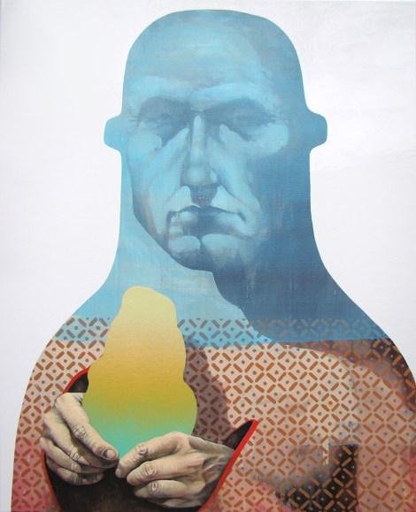 "TitleVeil Of Identity   Medium oil, enamel, and spray paint on canvas   Size24"" x 30"""