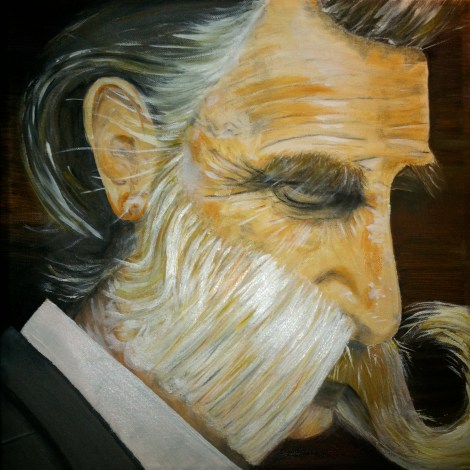 "Title""Moustache man""   Medium	Oil painting   Size	18'x 24'"