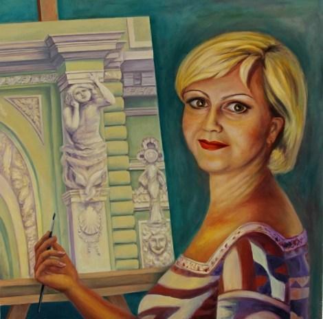 "TitleSelf-Portrait   MediumOil on Canvas   Size30"" x 30"""