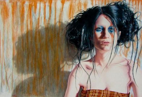 "TitleShadow Abby   MediumColor pencil   Size18.5""x27"""