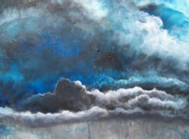 Title Stormy Sky's Make Me Feel Sad   Medium 	acrylic   Size 	18;;x24''