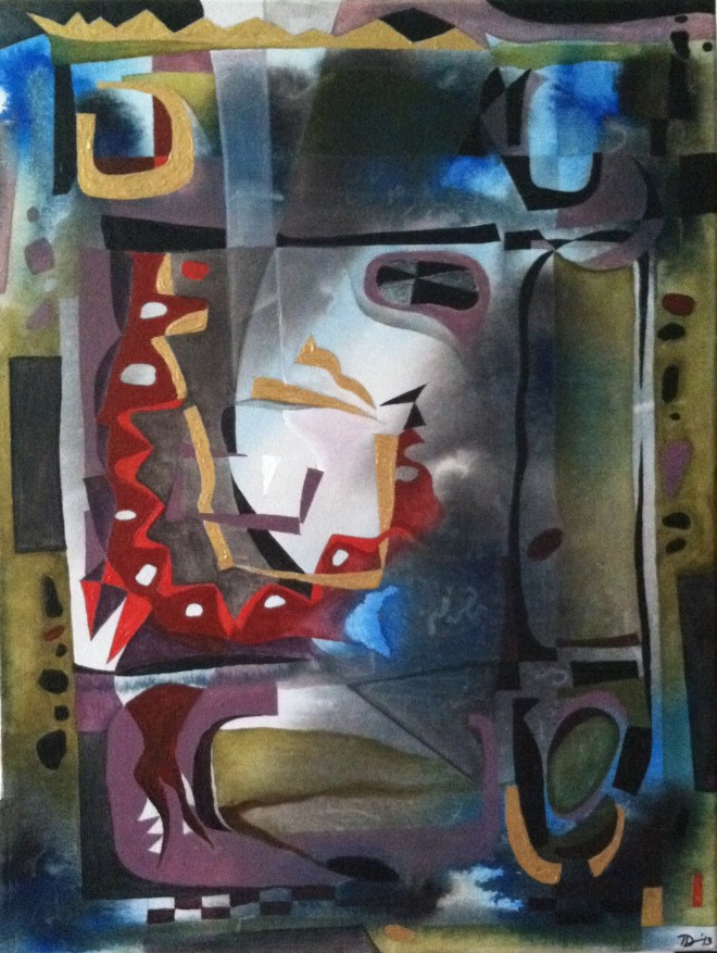 Title REFINEMENT   Medium  Ink & Acrylic on Canvas   Size 24H x 18W