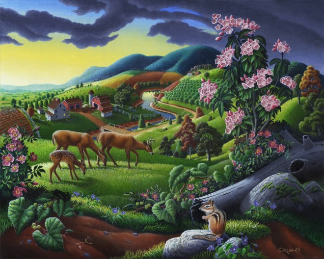 Title Deer In The High Meadow   Medium  oil on canvas   Size 16