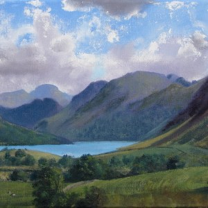 Title: Plein air sketch - In the Crummock Valley 10.7.14 Medium: Oil Size: 25x50 cms