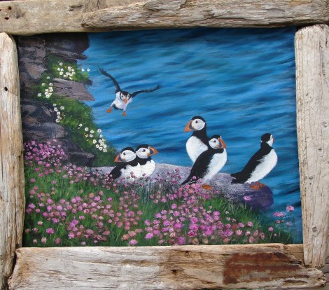 """Title:""""Incoming!"""" Shetland Puffins Medium:oil Size:41x51 cms"""