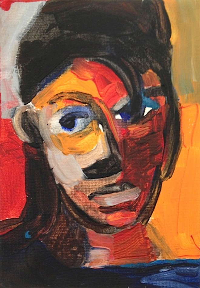 "Title Self in Red+Orange   Medium Acrylic on canvas   Size 4""x6"""