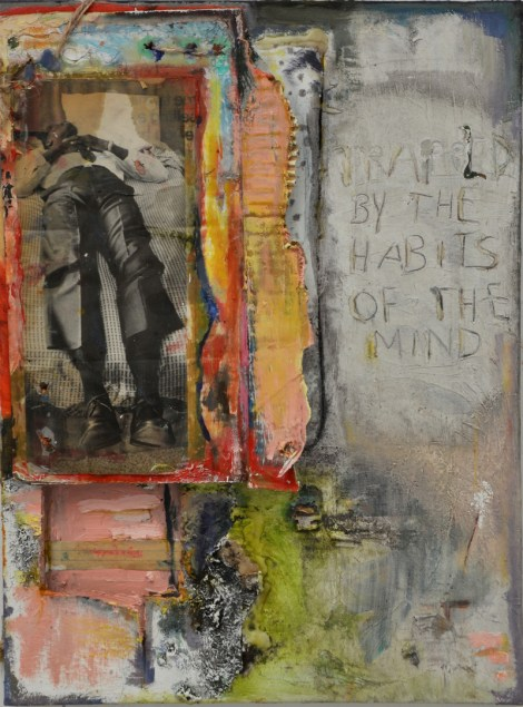 "Title:Trapped By the Habits of the Mind Medium:	Oil, Dirt, Magazine Cut-Outs, Hot Glue Size:	24"" by 18"""