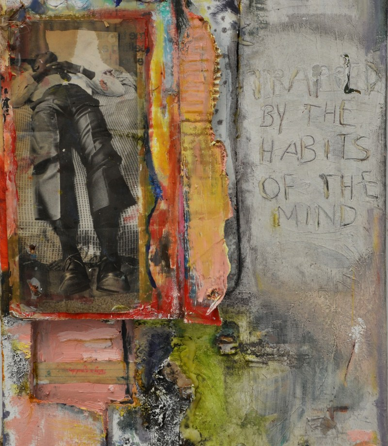 "Title: Trapped By the Habits of the Mind Medium: Oil, Dirt, Magazine Cut-Outs, Hot Glue Size: 24"" by 18"""
