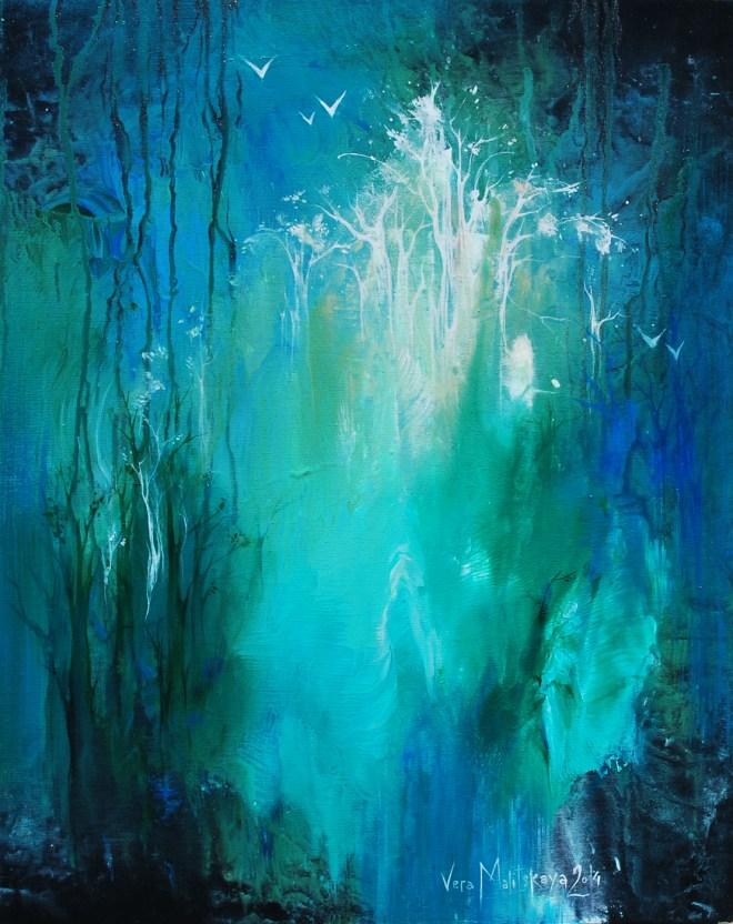 "Title ""Mysterious""   Medium acrylic paint on canvas   Size 16x20"