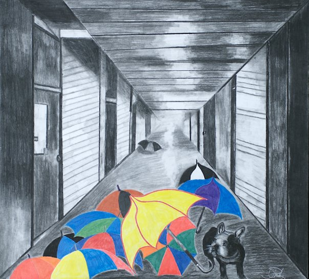 "Title: Wylie's World Medium: charcoal and pastel Size: ""27 x 24"""