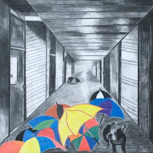 """Title: Wylie's World Medium: charcoal and pastel Size: """"27 x 24"""""""