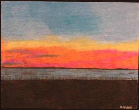 """Title:Summertime in the Caroinas Medium:charcoal and pastel Size:""""35 x 29"""""""