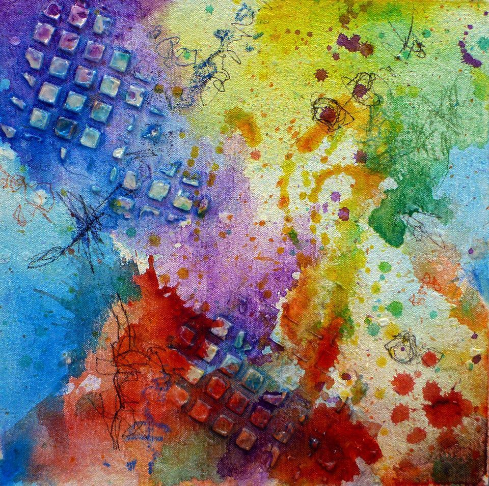 "Title: Happy Accidents Medium: Acrylic on canvas Size: 12"" x 12"""