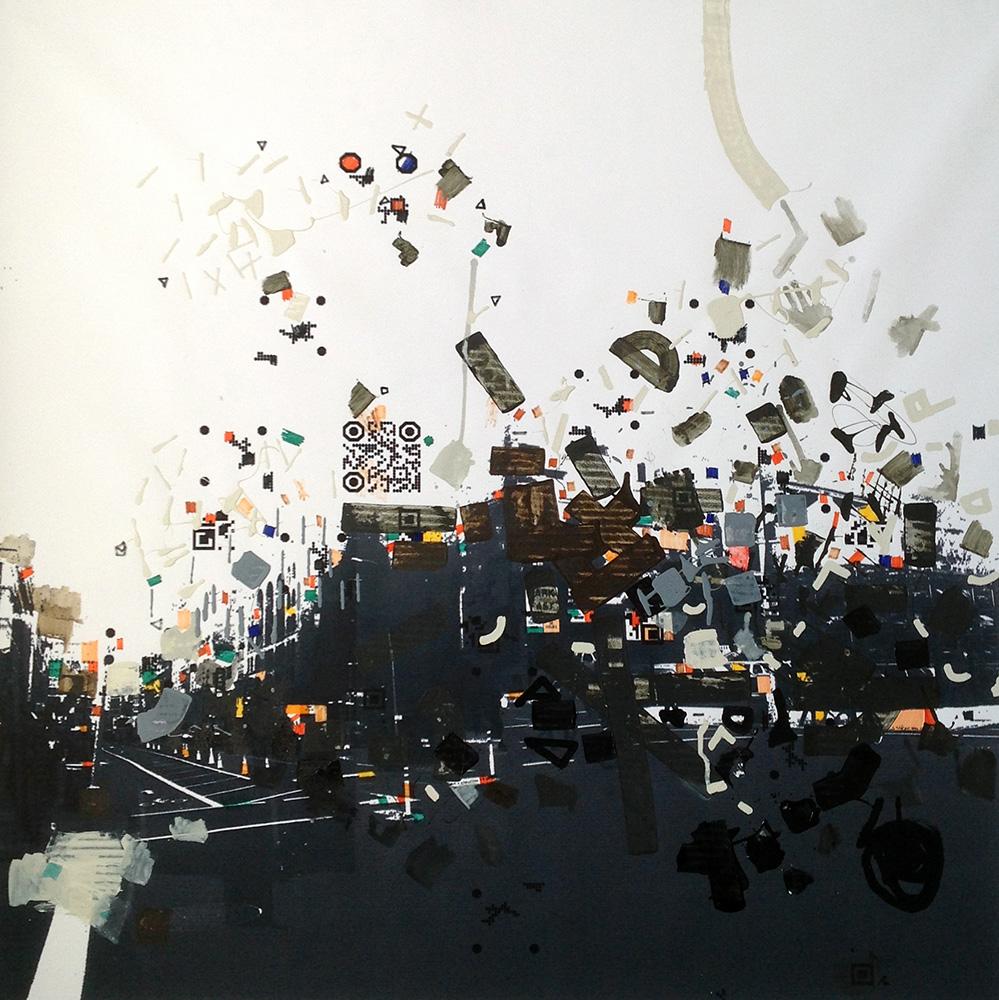 """Title: Carmiin Leroyy Medium: acrylic on B/W printed canvas Size: 39"""" x 39"""""""