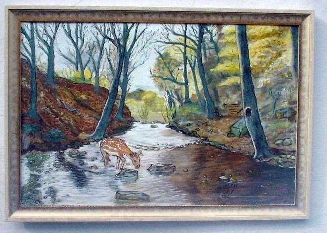 Title:The fawn at morn Medium:Oil on canvas Size:3ft x 2ft