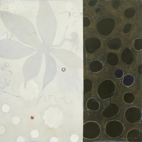 "Title:Snowflower Medium:Acrylic & Mixed Media on Wood Panel Size:20"" x 20"""
