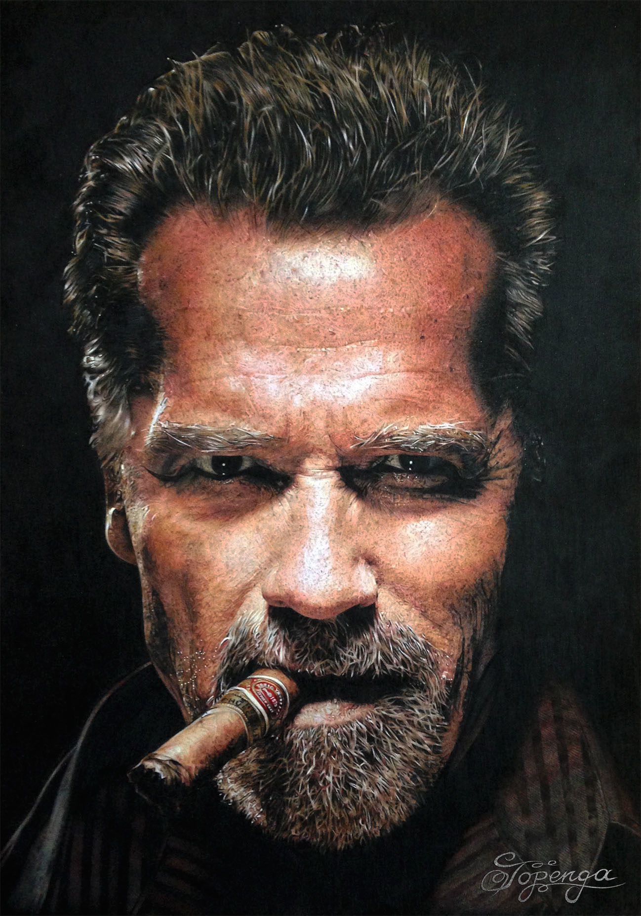 Title: Arnold Schwarzenegger Medium: Coloured Pencil Size: 29,7 x 42 cm