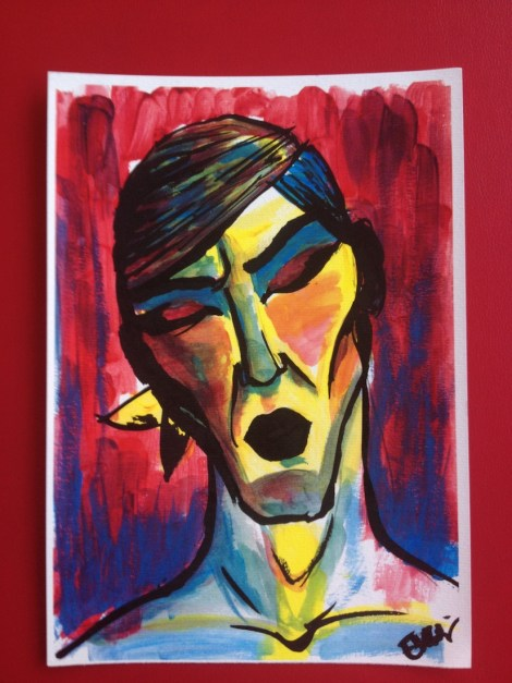 Title:Self portrait I Medium:	Gouache on paper Size:	21,0 x 29,7 cm