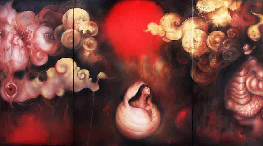Title: Oracle I Medium: Gold foil , Oil on canvas Size: 240 x 100 cm
