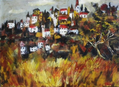 Title:The Village Medium:	Acrylic Size:	30x22