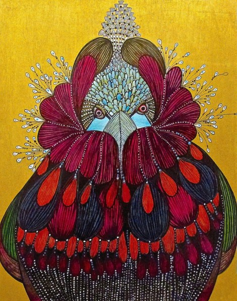 """Title:Magic Bird 1 Medium:Drawing and painting on wood panel Size:11"""" x 14"""""""