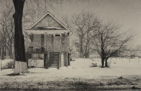 "Title:What was Once a Home (South Throop Street) Medium:	Carbon pencil on toned paper Size:	17"" x 25.5"""