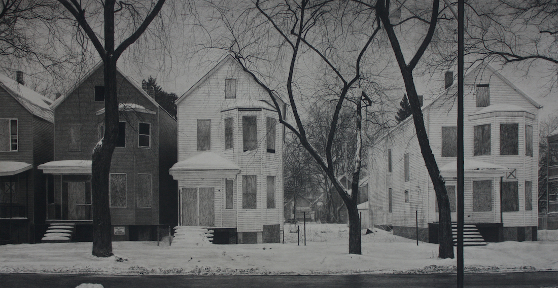 "Title: What was Once a Home (South Laflin Street) Medium: Carbon pencil on toned paper Size: 20"" x 39"""
