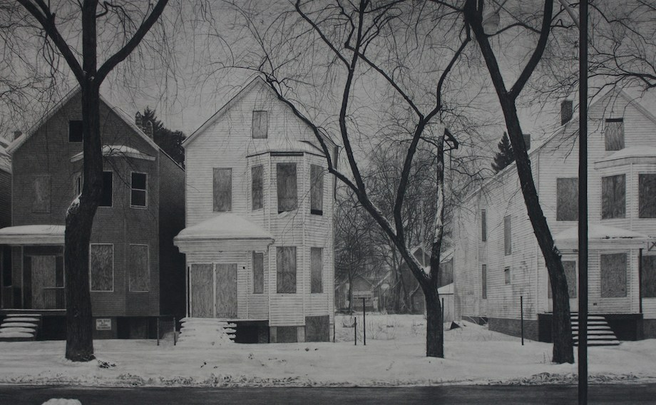"""Title: What was Once a Home (South Laflin Street) Medium: Carbon pencil on toned paper Size: 20"""" x 39"""""""