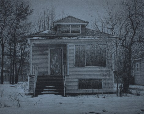 "Title:What was Once a Home (West 70th Place) Medium:	Carbon pencil on toned paper Size:	8"" x 10"""