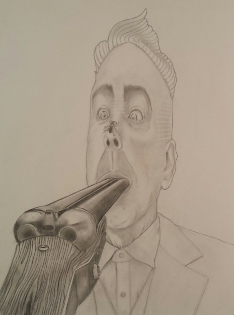 Title:The Fly That Changed His Mind Medium:	Pencil on paper Size:	18 x 24 in.