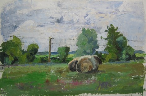 "Title:Hay Series, 12-Aug-15 Medium:	Oil Size:	9""x13.5"""