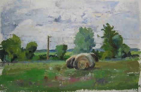 "Title:Hay Series, 12-Aug-15 Medium:Oil Size:9""x13.5"""