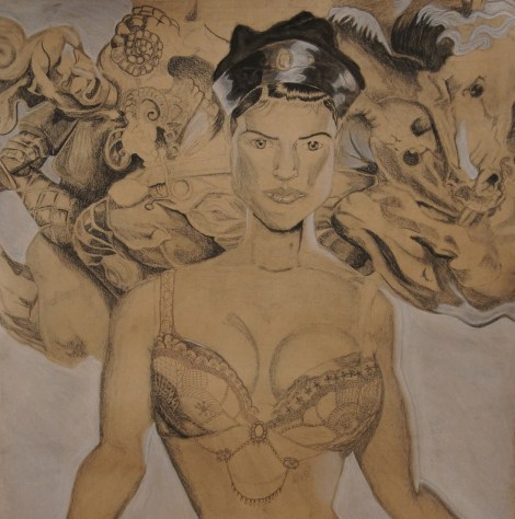 Title:Pheobe of Anghiari Medium:brown ink, white conte, and charcoal Size:22x24