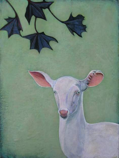 Title:Lavender Deer Medium: acrylic and oil Size: 20x16 inches