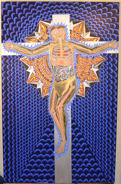 Title:The Crucifixion Medium: Acrylic, gouache, and watercolor on oak panel Size: 49 in x 75½ in