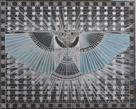 Title:Archaeopteryx Incross Medium: Silver Pen, Watercolor, Gouache, & Oil on Paperboard Size: 32in x 40 in
