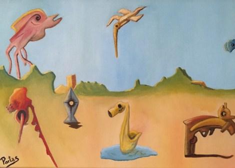 """Title:Futuristic Landscape Medium:oil on canvas Size:12""""x 20"""""""