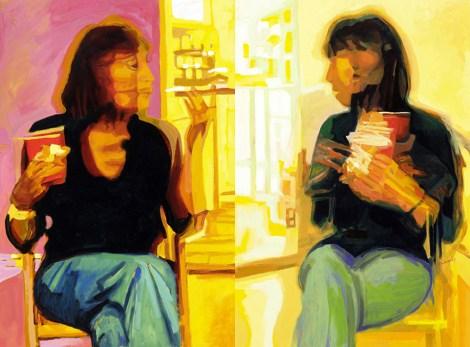 "Title:Constance Conversation Diptych Medium:Oil on Board Size:40"" x 60"""