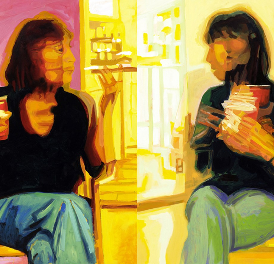 "Title: Constance Conversation Diptych Medium: Oil on Board Size: 40"" x 60"""