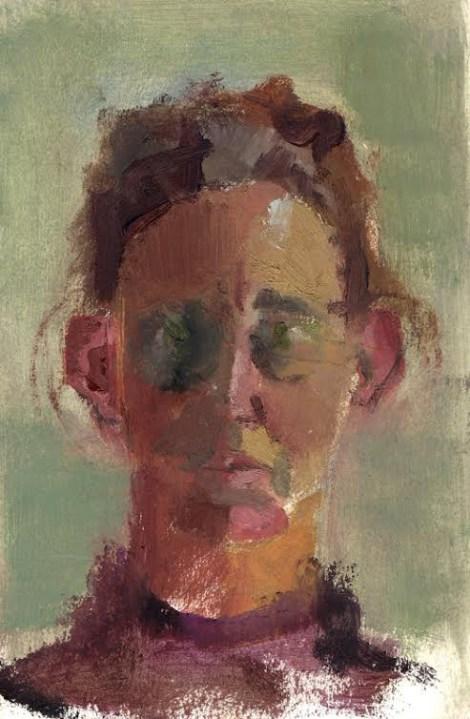 Titleportrait in light   Mediumoil on paper   Size23/15 cm