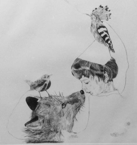 TitleDe la serie (BESTIARIO): Eterno. El zorro y el niño. (From the project (BESTIARUM): Eternal. The fox and the boy)   MediumEngraving drypoint   Size78cm length X 79cm width