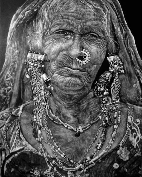 TitleBanjara - The Indian Gypsy   MediumScratchboard with X-Acto 11 scalpel knife   Size15x18