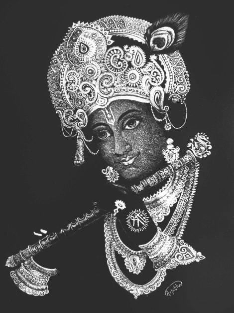 TitleThe Amalgum- Lord Krishna on Scratchboard   Medium	Scratchboard with X-Acto 11 scalpel knife   Size	11x10