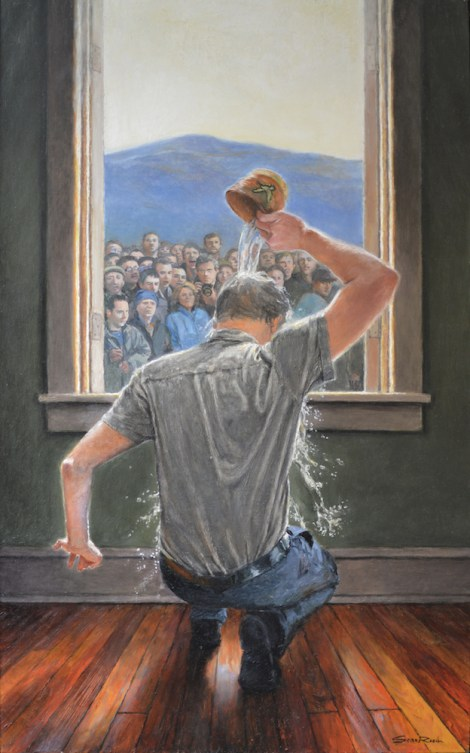 "TitleBaptism, A Self-Portrait   MediumOil on panel   Size22""w X 36""h"